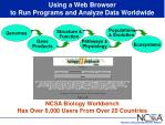 using a web browser to run programs and analyze data worldwide
