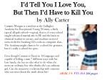 i d tell you i love you but then i d have to kill you by ally carter