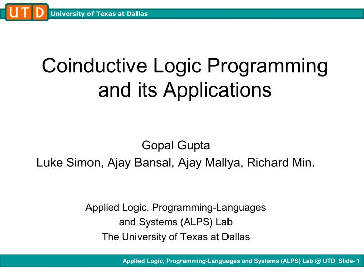 coinductive logic programming and its applications n.