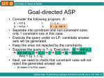 goal directed asp