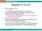 negation in co lp