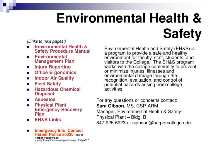 PPT - Environmental Health & Safety PowerPoint Presentation