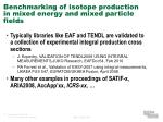 benchmarking of isotope production in mixed energy and mixed particle fields