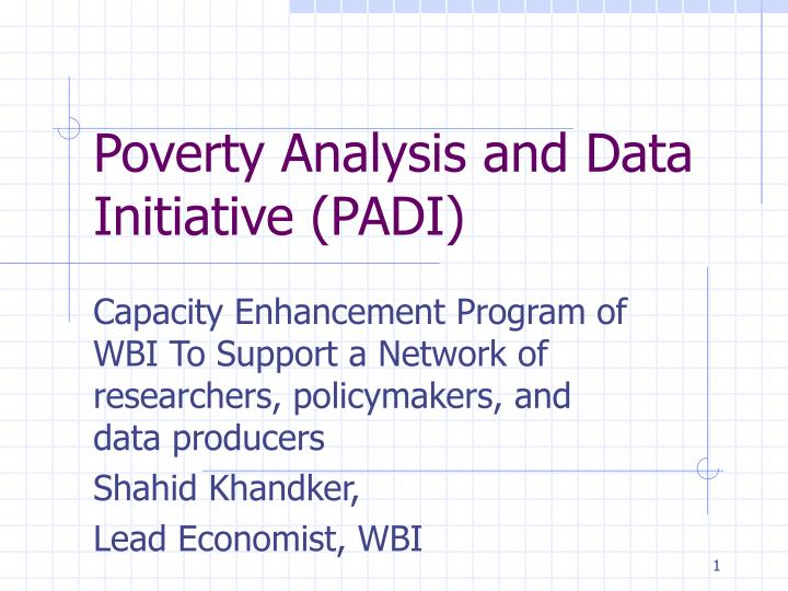 poverty analysis and data initiative padi n.