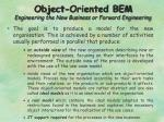 object oriented bem engineering the new business or forward engineering