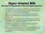 object oriented bem reversing existing business or reverse engineering cont1