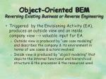 object oriented bem reversing existing business or reverse engineering