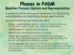 phases in padm baseline process capture and representation