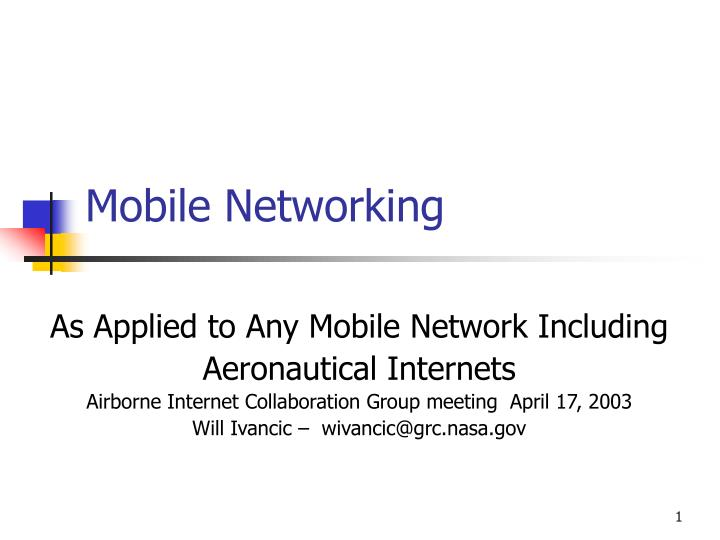 mobile networking n.