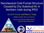 nonclassical cold frontal structure caused by dry subcloud air in northern utah during ipex