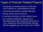 types of potential testbed projects1