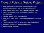 types of potential testbed projects2