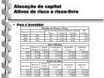 aloca o de capital ativos de risco e risco livre1