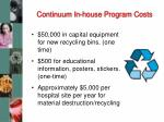 continuum in house program costs