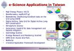 e science applications in taiwan