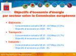 objectifs d conomie d nergie par secteur selon la commission europ enne