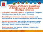 politiques d efficacit nerg tique et de lutte contre le changement climatique en europe