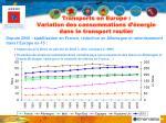transports en europe variation des consommations d nergie dans le transport routier