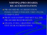nbfspq pro board re accreditation