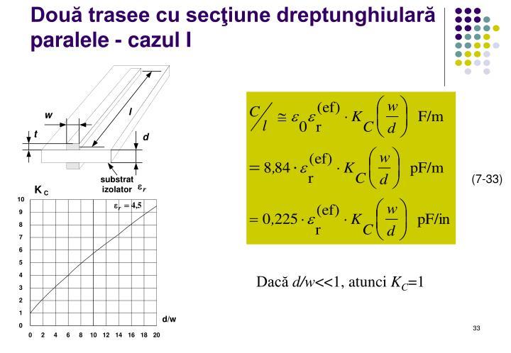 Două trasee cu secţiune dreptunghiulară paralele - cazul I