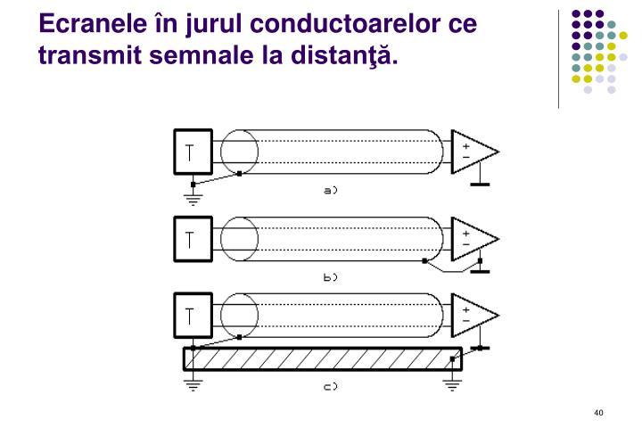 Ecranele în jurul conductoarelor ce transmit semnale la distanţă.