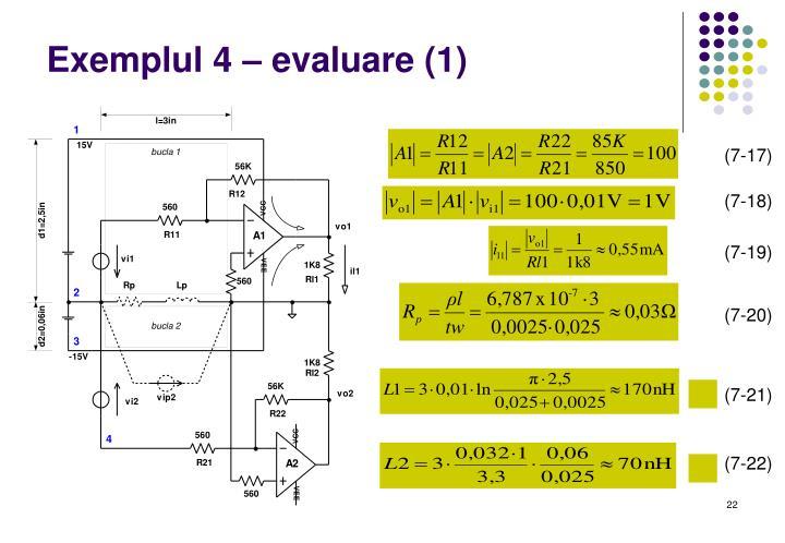 Exemplul 4 – evaluare (1)