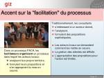accent sur la facilitation du processus