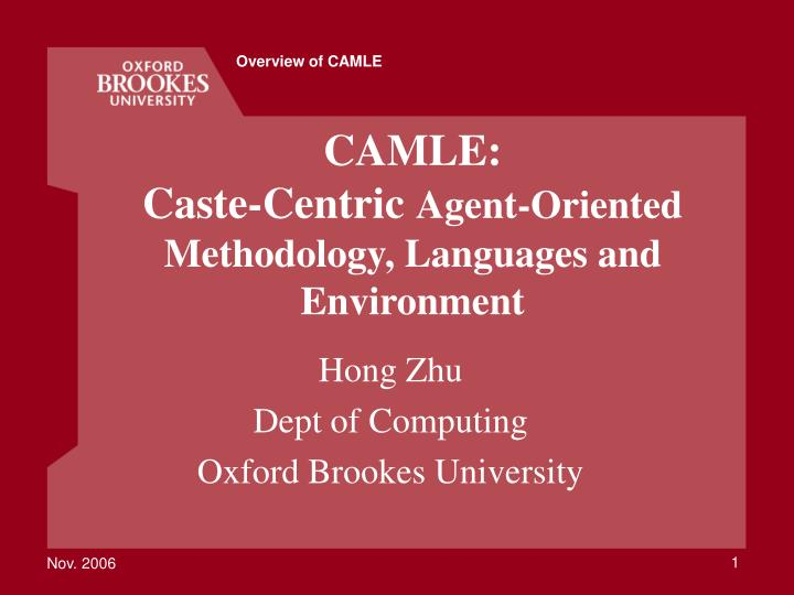 camle caste centric agent oriented methodology languages and environment n.