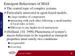 emergent behaviours of mas