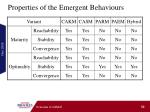 properties of the emergent behaviours