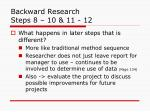 backward research steps 8 10 11 12