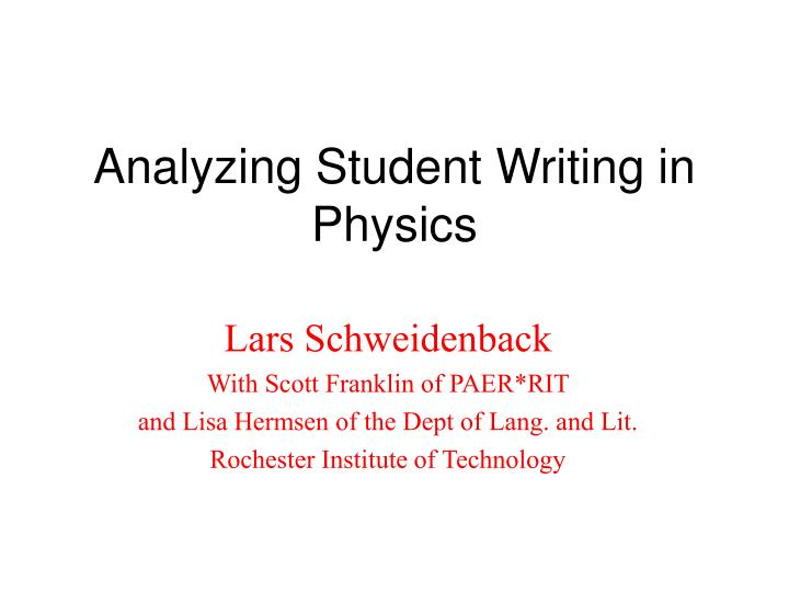analyzing student writing in physics n.