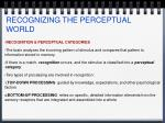 recognizing the perceptual world