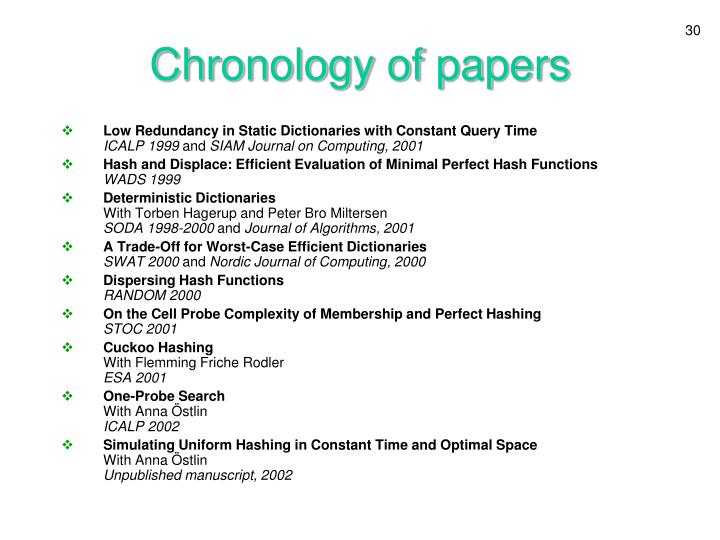 Chronology of papers