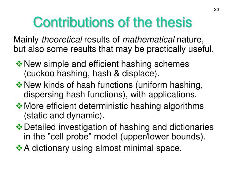 Contributions of the thesis