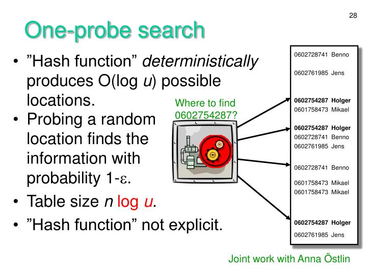 One-probe search