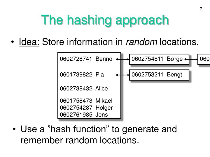 The hashing approach