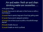 air and water fresh air and clean drinking water are necessities