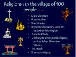 religions in the village of 100 people