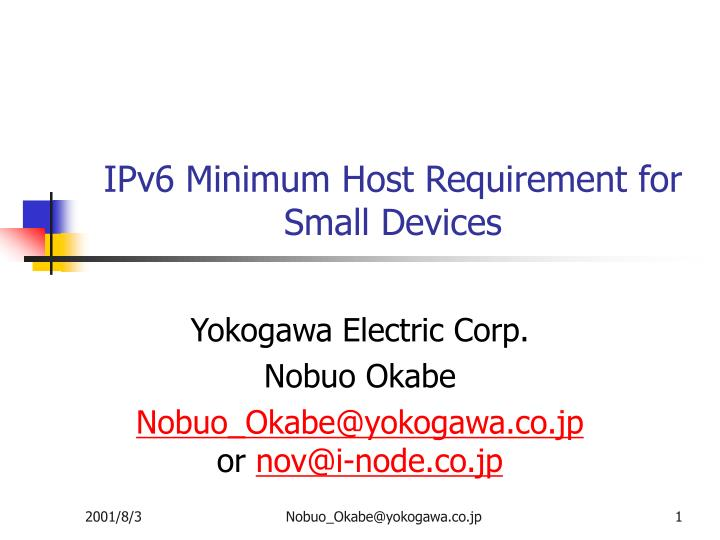 ipv6 minimum host requirement for small devices n.