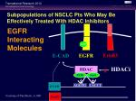 subpopulations of nsclc pts who may be effectively treated with hdac inhibitors