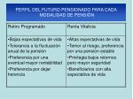 perfil del futuro pensionado para cada modalidad de pensi n
