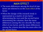 main effect
