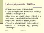 a sikeres p ly zat titka forma