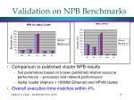 validation on npb benchmarks