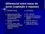 diferencial entre taxas de juros capta o e repasse