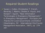 required student readings