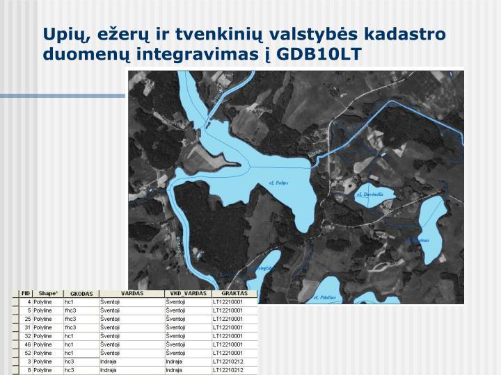 Upių, ežerų ir tvenkinių valstybės kadastro duomenų integravimas į GDB10LT