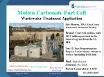 molten carbonate fuel cell wastewater treatment application