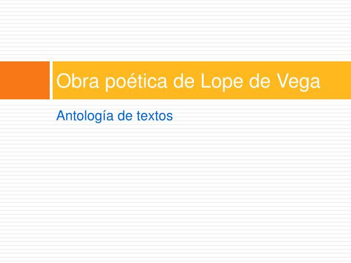 Obra poética de Lope de Vega
